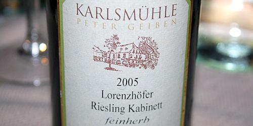 Karlsmühle Lorenzhöfer Riesling Kabinett Feinherb 2005, bottiglia